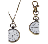 Unisex Alloy Analog Quartz Keychain Necklace Watch (Bronze)
