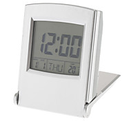 flip-up digital despertador calendario termómetro (plata, 2xAAA)