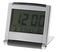 """flip-up 3 """"termómetro calendario reloj despertador digital (plata, 2xAAA)"""
