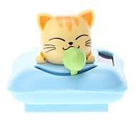 Solar Powered Cat Head Shaking Desktop Toy (Random Color)