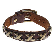 z&X® stile vintage braccialetto di cuoio x forma rivetto
