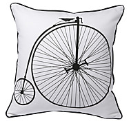 Vintage Bicycle Print Decorative Pillow Cover