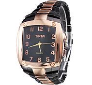 Men's Square Case Black & Gold Alloy Quartz Analog Wrist Watch