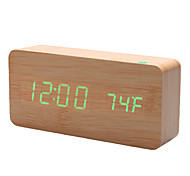 "6"" Khaki Wooden Design Green Light Desktop Alarm Clock Thermometer (USB/4xAAA)"
