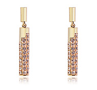 Korean Fashion drill cylindrical Gold Plating Earrings