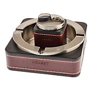 Honest Silver Leather Gas Lighter + Metal Ashtray (Exquisite Package, Model: TA-29)