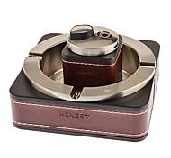 Honnête briquet à gaz + Métal Argent cuir Cendrier (paquet exquis, Modèle: TA-29)