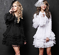 Elegante Manga Larga Corta Pure Cotton Color de la princesa Lolita vestido