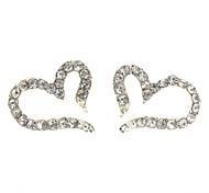 Heart Stud Earrings Jewelry Women Heart Daily Alloy Zircon Silver