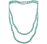 Round Bead Turquoise Long Type Necklace