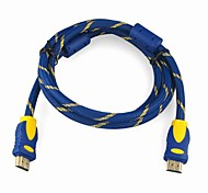 High Speed HDMI 1.4 Version Cable  w/Ferrite Cores (5 m, Blue & Gold)