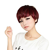 Capless Short Auburn Red Curly Synthetic Wigs Side Bang