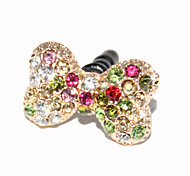 3.5mm Colorful Zircon Bowknot Pattern Anti-dust Earphone Jack