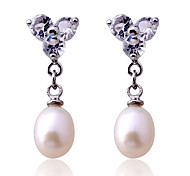 Korean fashion three crystal pearl silver plating Earrings