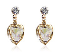 Charming Alloy Crystal Heart-shaped Earrings