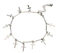 The Cross Pendant Metal Anklet(Platinum)