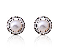 Lureme®Fashinable Antique Silver Round Ziron Pearl Earrings(White)