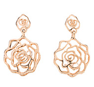 Hollow-out Imitation Zircon Rose Earrings
