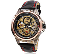 Men's Wrist Style PU Analog Mechanical Hollow Watch (Black)