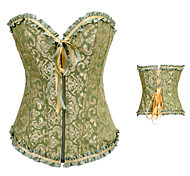 Green and Golden Floral Satin Aristocrat Lolita Corset