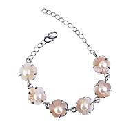 Bohemian  Fashion Pearl Peach Blossom  Silver Plating Bracelet
