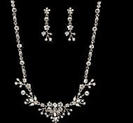 scheint tschechisch Strass-Legierung überzogen Hochzeit Braut Halskette und Ohrringe Schmuck-Set