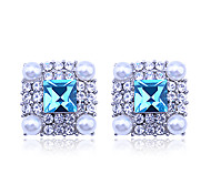 European Style  fashion luxury  stedded with drill pearl square crystal Earrings