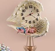"12""H Sleeping Angel Polyresin Wall Clock with Pendulum"