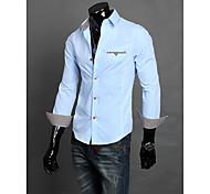 Мужской Однотонный Рубашка Для офисаДлинный рукав,Черный / Синий / Белый