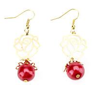 Rose Red Pearl Earrings