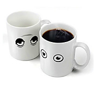 Magical Tired Eyes Wake Up Color Changing Hot Sensitive Porcelain Mug Cup