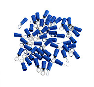 Copper Cable Wire Ring Terminal Connector - Blue + Silver (4MM / 50 Piece Pack)