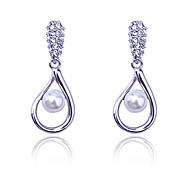 Korean fashion drill water drop pearl Earrings