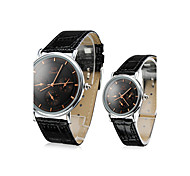 Pair of Thin Case Style Analog Quartz PU Couple's Wrist Watch (Assorted Colors)