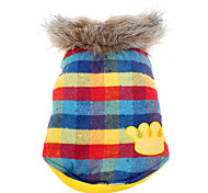 Cute Colorful Square Lattice Pattern Pet Coat with Fur Collar for Dogs (Demountable)