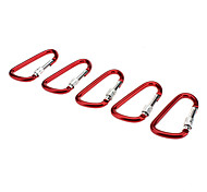 D Shaped Durable Aluminum Alloy Mountaineering Buckle with Nut(5 PCS,Red)