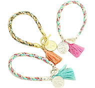 Eruner®Color Matching Woolen Yarn Coin Pendant Woven Bracelet(Assorted Colors)