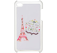 Flower and Tower Pattern Hard Case with Rhinestone for iPod Touch 4