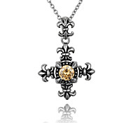 PlusMinus 316L Stainless Steel Vintage Anchor Yellow Crystal  Pendant Necklace For women + Gift Box