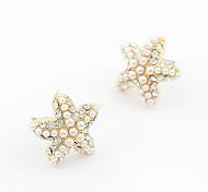 Alloy Pearl Starfish Pattern Earrings
