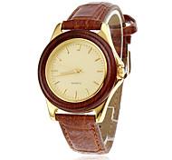 Holzkoffer eleganten Goldwahl braun Frauen PU-Band Quarz-Armbanduhr