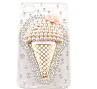 Cute Pearl Ice Cream Pattern Hard Case for iPhone 4/4S (Transparent)