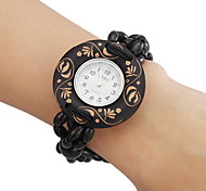 Women's Wood Analog Quartz Bracelet Watch (Black)