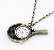 Vintage Cute Alloy Table Tennis Bat Pattern Pocket Watch Necklace