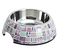 Stylish Check Pattern Melamine Shell Pet Stainless Steel Food Bowl for Dogs Cats (S-XL)