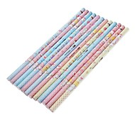 12 Pack Love Story Pattern Wooden Pencil (Random Color)