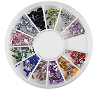 YeManNvYou®240PCS Nail Art Colorful Mixed Shapes Acrylic Rhinestone