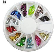 24PCS 12-Color Nail Art Rhinestone acrylique (formes variées)