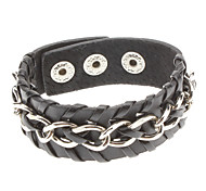 Braided Black Metal Chain Leather Bracelet