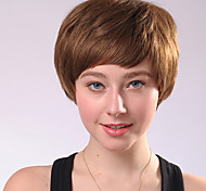 Capless Short Golden Blonde Curly Synthetic Fiber Wigs Side Bang